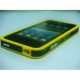 Plastic iPhone 4G cover In black with yellow color stripes & frame